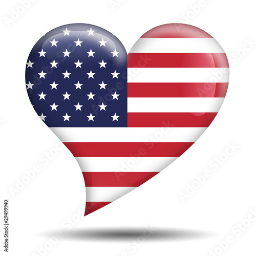 Corazon brillante bandera Estados Unidos