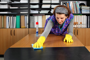Professional cleaning lady clean office