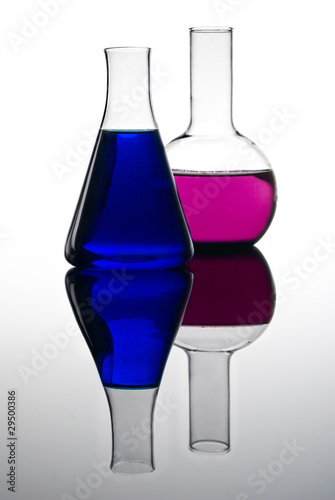 Two colorful flasks