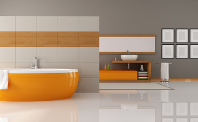 orange and brown bathroom