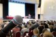Leinwanddruck Bild - Microphone at conference.