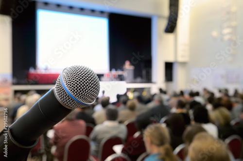 Leinwanddruck Bild Microphone at conference.