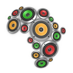 Africa music continent - loudspeakers forming African continent