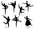 Silhouettes of ballerinas and dancer in movement