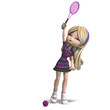 cute girl with long hair plays tennis. 3D rendering with