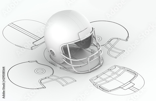 Foto op Plexiglas Wand Helmet charts with 3d model on top