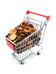 A shopping trolley with coins on a white background
