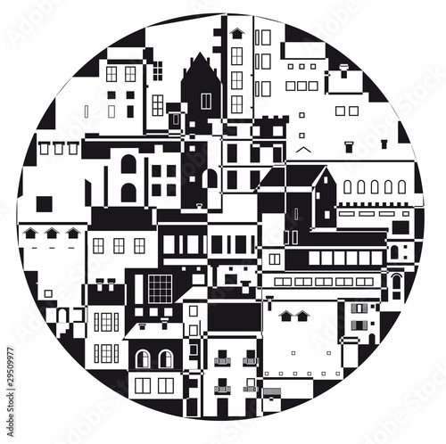 the monochrome town in the  circle