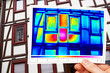 thermal imaging of a facade of an old timbered house