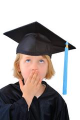 Surprised cute little graduate student