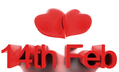 14th February, St. Valentines Day. 3D render concepts