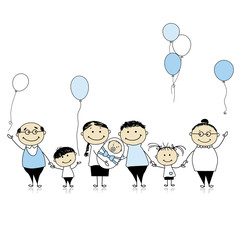 Happy birthday, big family with children, newborn baby