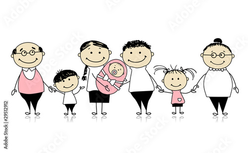 Happy big family with children, newborn baby