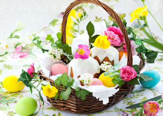 Basket with easter eggs and cake