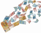 euro notes flying away - 29513777