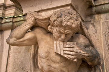 Satyr with panflute on Wallpavillion of Zwinger Palace, Dresden