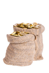 Bags filled with coins.