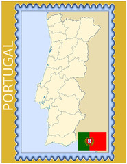 Portugal national emblem map coat flag business background