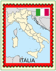 Italy national emblem map coat flag business background