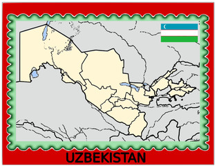 Uzbekistan national emblem map coat flag business background