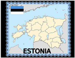 Estonia national emblem map coat flag business background