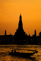 Wat Arun, The Temple of Dawn, at sunset,view across river. Bangk