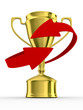 Gold cup of winner on white background. Isolated 3D  image