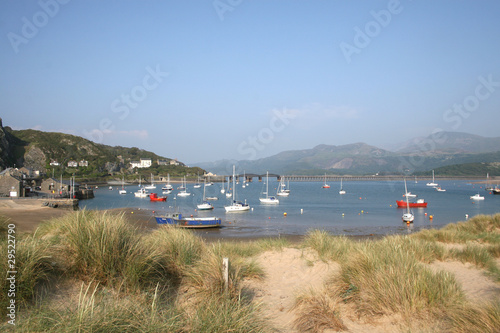 Sand dunes and harbour, Barmouth, North Wales