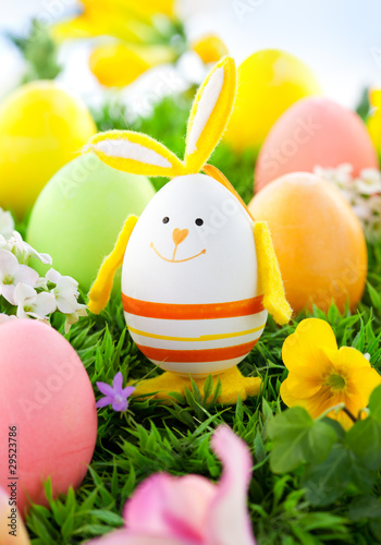 Colorful Easter Eggs and rabbit - 29523786