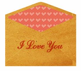 Vintage envelope with flower pattern inside