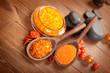 Orange salt and spa stones