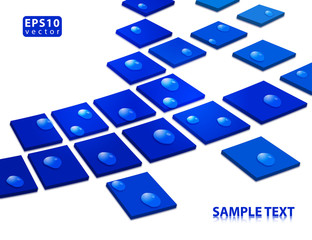 Abstract blue squares covered with dew. Vector