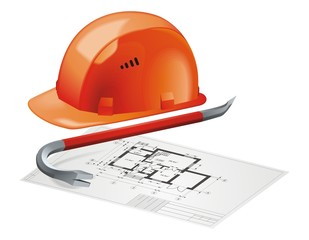 Hard Hat and Construction Plan vector