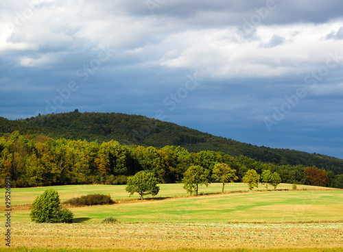 Autumn sunny landscape in windy weather