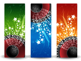 Three abstract banners with loudspeakers