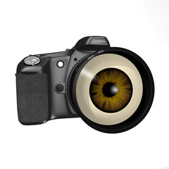 Camera with human eye for lens
