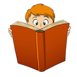 Cartoon boy reading big book