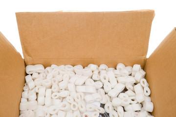 Box Styrofoam Packing Peanuts Isolated Background