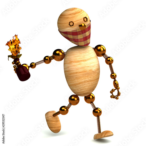 3d wood man with a molotov cocktail isolated