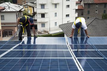 Solar panels installing