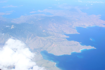 Sea islands from the plane