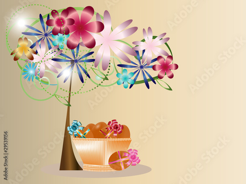 Under a blossoming tree a basket with Easter eggs