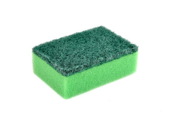 A green sponge dish isolated on white