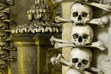 Human skull in bone chapel in Kutna Hora, Czech Republic
