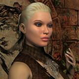 Portrait junge blonde Frau mit Ponytail poster