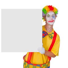 Clown mit Werbetafel