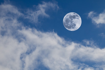 Full Moon on Blue Sky with Clouds