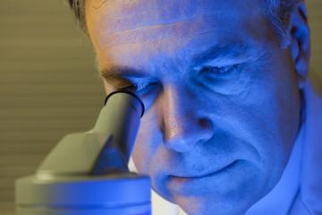 Scientist in Blue Light