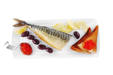 smoked fish served on plate