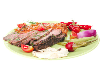 beef slices on plate
